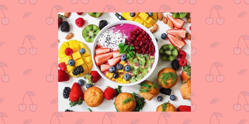 wonderful fruitbowl with mango blueberry kiwi strawberries cake tasty sugar