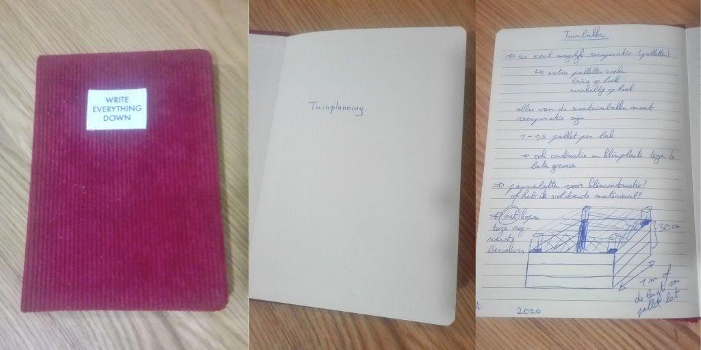 rood notitieschrift met tuinplanning en schets moestuinbak