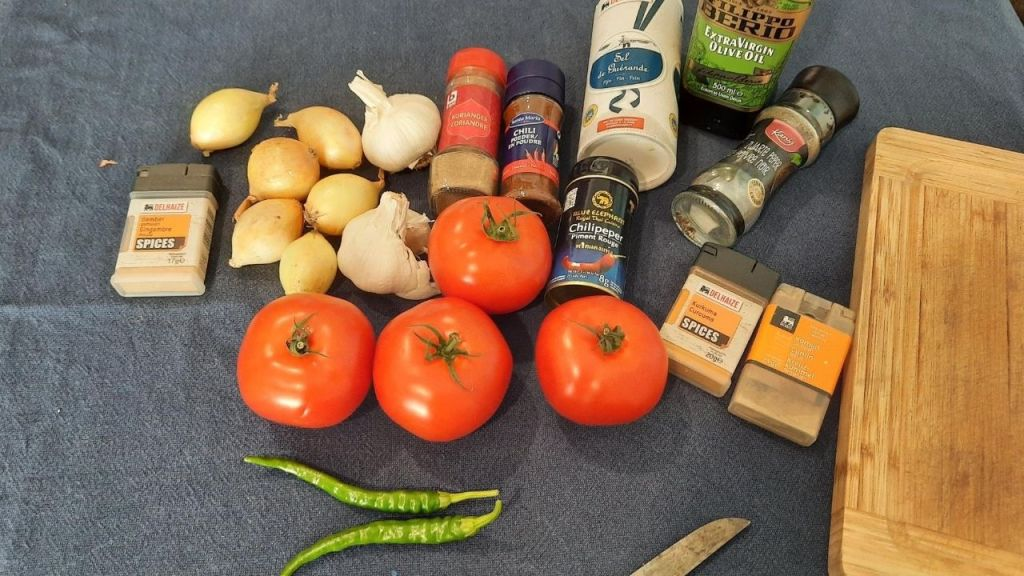 Make sure you have all ingredients! tomatoes spices onions garlic green pepper olive oil